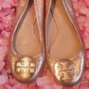 Tory Burch Rose Gold Reva Flats